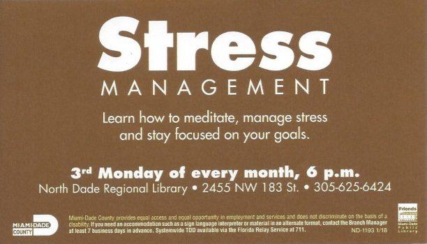 Meditation for Stress Management – North Dade Lib
